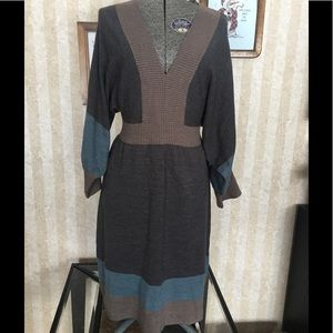Connected-neck sweater dress.